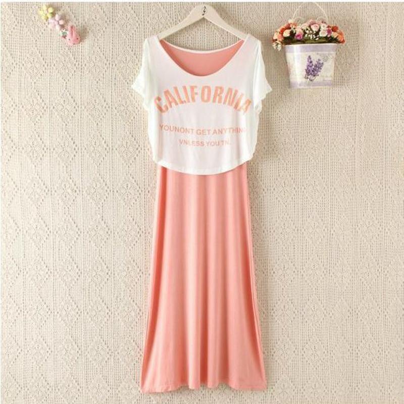 Modal cotton maternity sleep lounge dress Fashion women Lactation pajamas set LJL7707