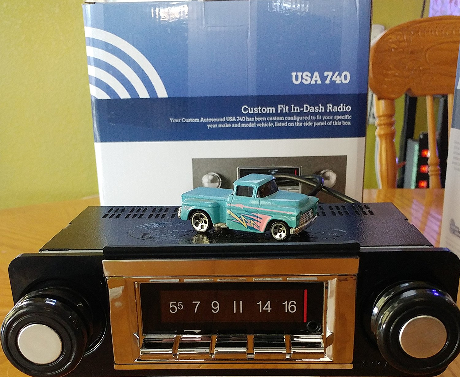1967-1972 Chevrolet Truck 300 watt USA-740 AM FM Car Stereo/Radio with built-in Bluetooth, AUX Inputs, Color Change LCD Digital Display