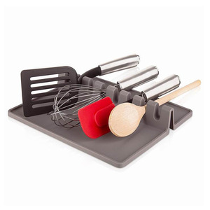 Amazon Hot Sale Silicone Spoon Holder Food Grade Kitchen Utensil Spoon Rest