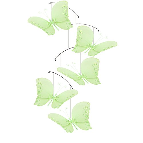 Butterfly Mobile Green Twinkle Nylon Mesh Butterflies Mobiles Decorations Decorate Baby Nursery Bedroom Girls Room Ceiling Decor Birthday Party Baby Shower Baby Crib Hanging Mobile Kids Childs 3D Art