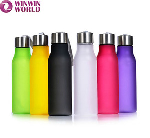 Colored Tritan BPA free frosted Portable Lemon Sode Drinking Sports Reusable plastic mineral water bottle with rope Leakproof