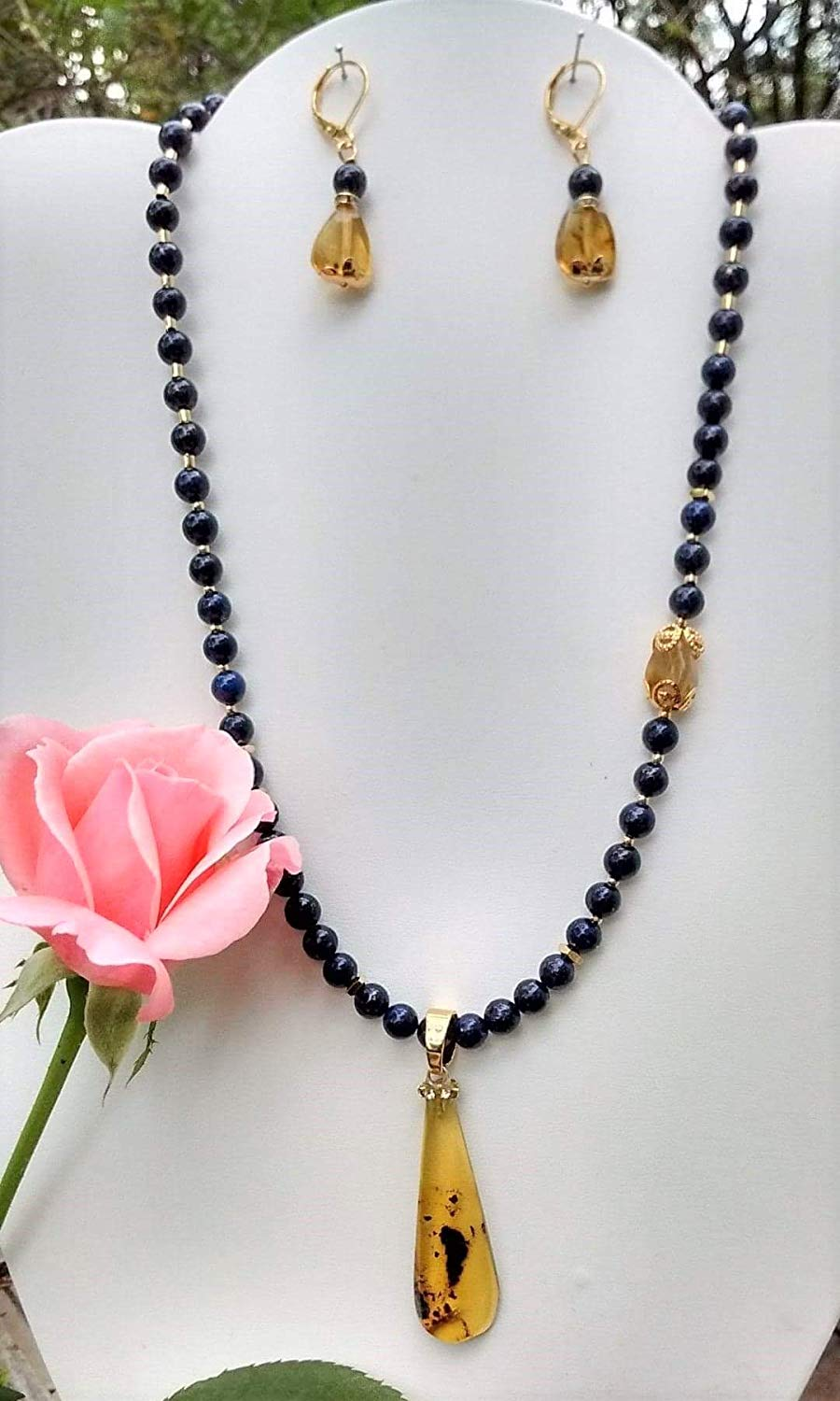 Handmade, Gemstone, Necklace, lapis lazuli, Chiapas amber. Include gold plated earrings