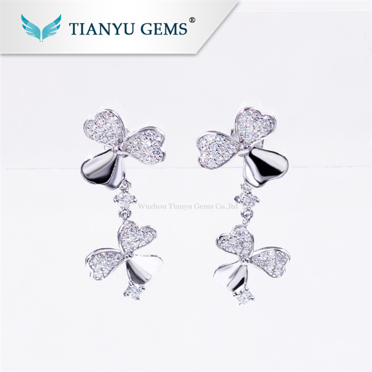 Tianyu gems cheap jewelry clover simple 925 sterling silver gold plated moissanite drop earrings for women