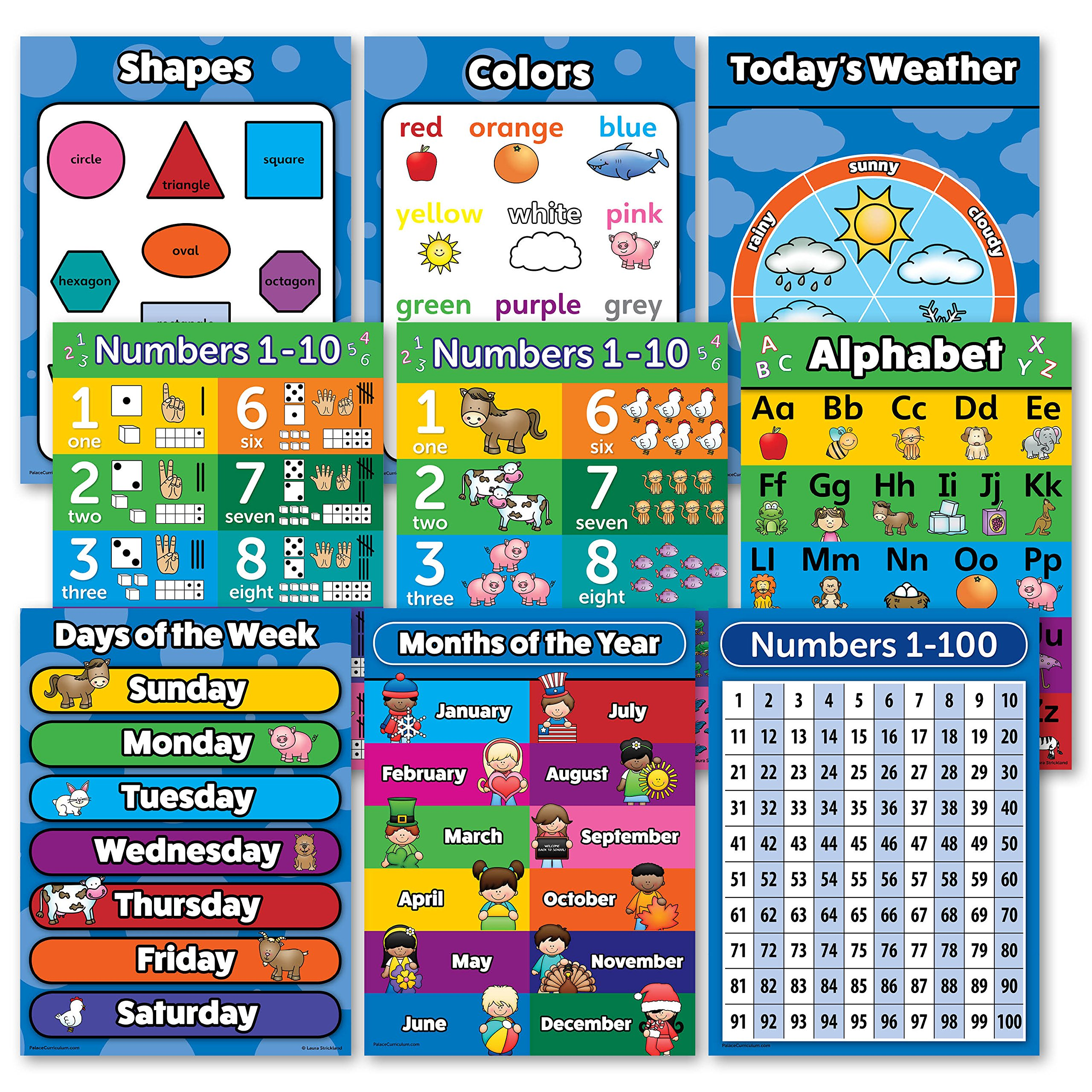 Buy Toddler Learning LAMINATED Poster Kit - 10 Educational Posters ...