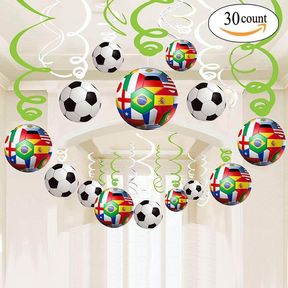 2018 World Cup Party Swirl Decorations - 30 CT Hanging Swirl for Soccer Party Supplies Theme Birthday Party Decorations, Multicolor