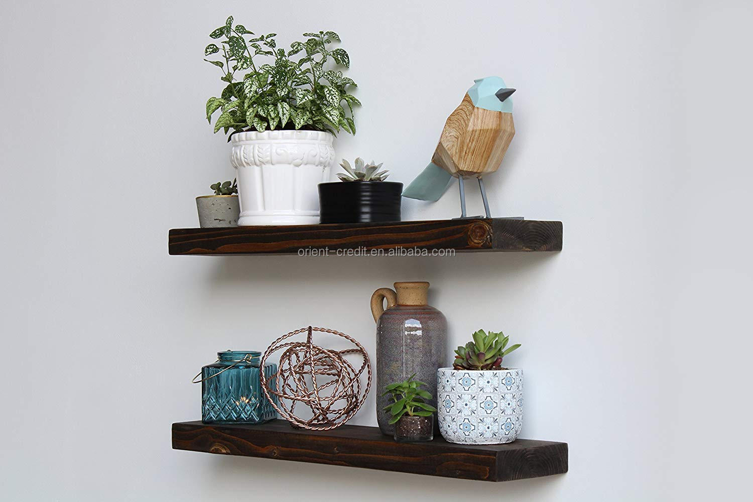 "Modern Floating Wood Shelves l Amish Made in Lancaster PA (Coffee Bean, 24"" Long)"