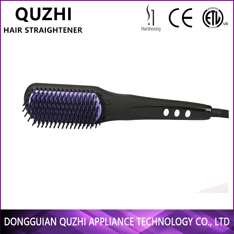 2017 led personalized hair comb anion hair straightener brush plate ceramic