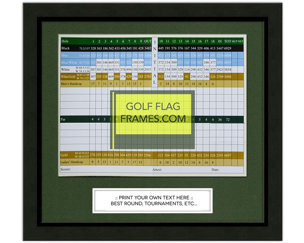 11x10 Golf Scorecard Frame; Black Wood Frame, Green Mat (holds up to 6x8 card); card not included