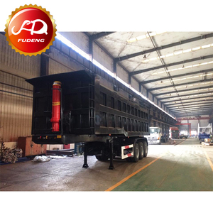 3 Axle 40 CBM dump trailers heavy duty square shape tipper trucks for sale