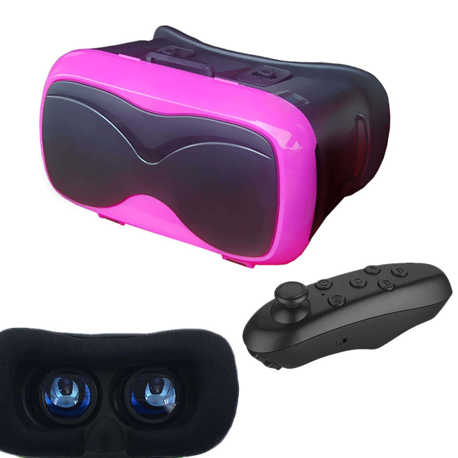 3D VR Glasses Headset, Tsanglight Virtual Reality Glasses with Remote Controller for IOS iPhone 7/6/6S Plus, Android Samsung Galaxy S7 Edge/S7/S6/S5/A5/A3 2016 & Other 4.7-6.5inches Cellphones- Pink