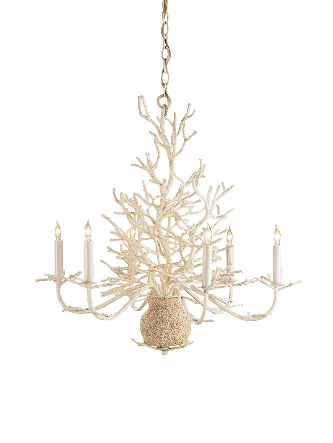 Currey and Company 9218 Seaward 6-Light Chandelier, White Faux Coral with Natural Sand Finish