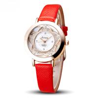 Custom Lady Wrist Watch Quartz Woman Dress Korea Bracelet watch Brand Leather flower Crystal watches