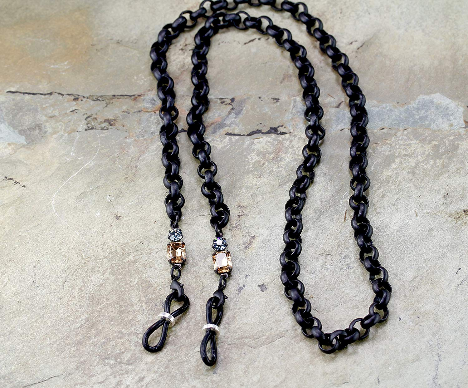 Matte Black Rolo Eyeglass Chain with Vintage Rhinestones