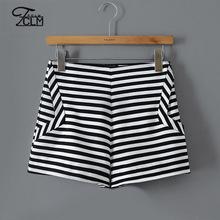 2015 New Summer Women Shorts Horizontal Stripe Printed Shorts Office OL Shorts Ladies Wide Leg Short Pant Bootcut BJ-HY8003