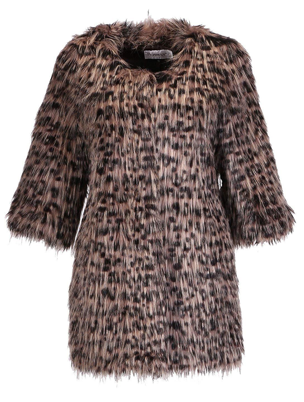 Enjoy Fur Women's Faux Raccoon Coat with Three-quarter Length Sleeves (size: L)