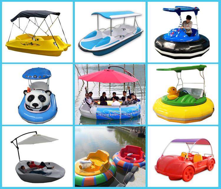 4 Persons Water Bike Wheeler PE Plastic Electric Powered Pedal Boat with Sun-shade Cover for Entertainment Park