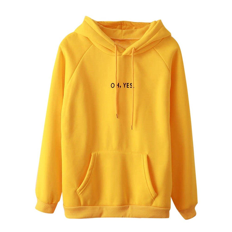 Ulanda Womens Letter Print Oh Yes Long Sleeve Hoodie Solid Sweatshirt Blouse Loose Hooded Pullover Ladies Tops