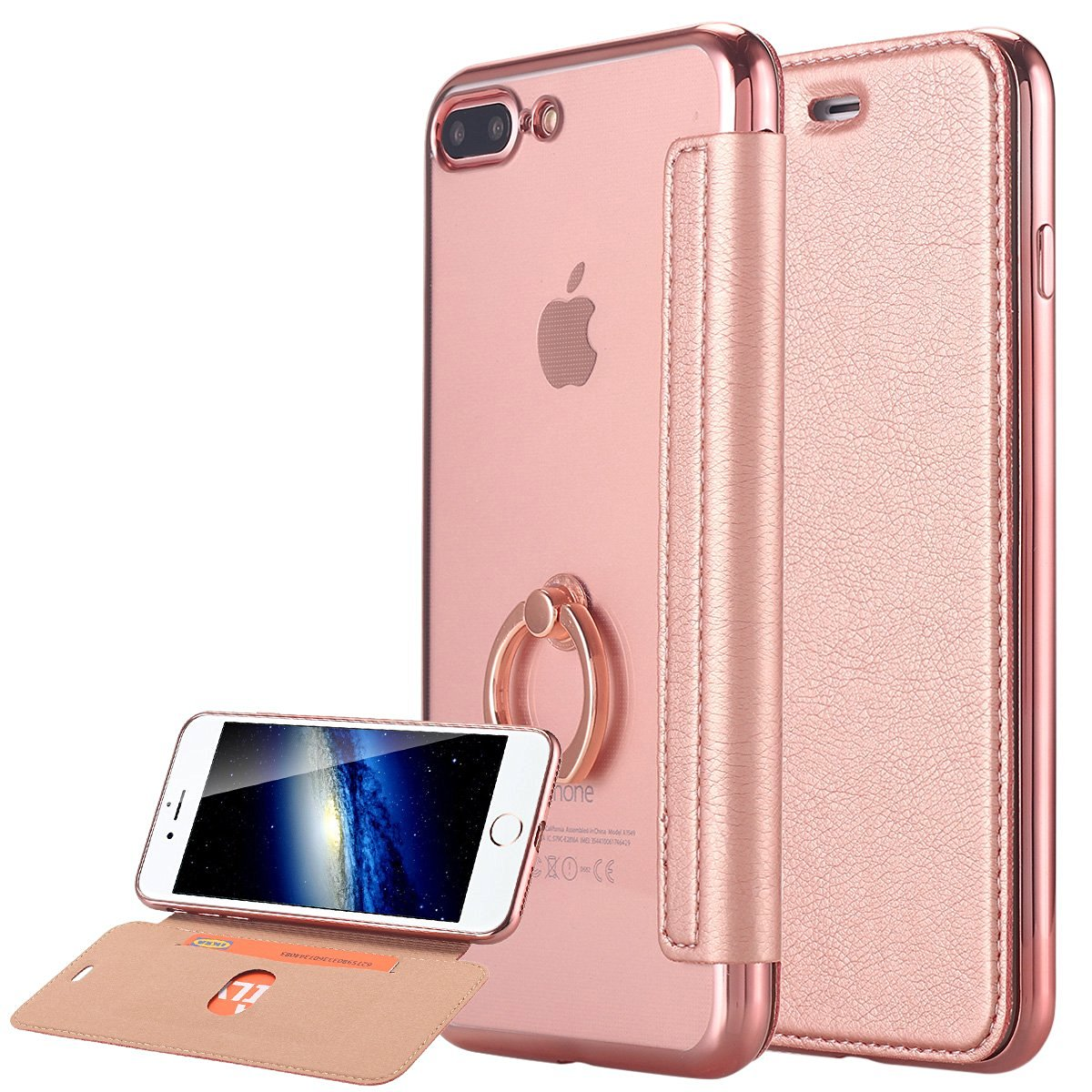iPhone 8 Plus / 7 Plus Case, LONTECT Ultra Slim PU Leather Folio Flip Case Card Slot with Clear Soft TPU Back Cover Built-in Ring Grip Holder for Apple iPhone 8 Plus / 7 Plus - Rose Gold