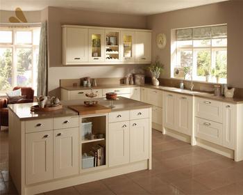 2018 Hangzhou Vermonhouse Warm White Kitchen Cabinet Design Mdf Wood Home Furniture With Artificial Quartz