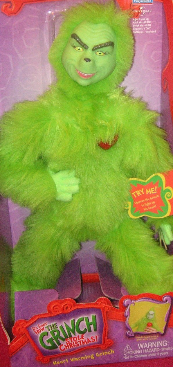 "Dr. Seuss How the Grinch Stole Christmas - Heart Warming Grinch 14"" Electronic Plush Figure with Glowing Heart feature"