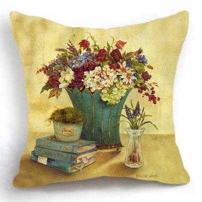 Retro Vintage Flower Book Home Decor Decorative Throw Pillow Case Cushion Cover Sofa Coussin Almofada Car Cojines Decorativos