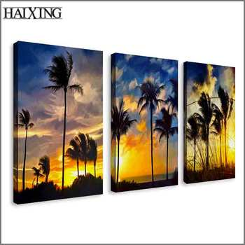 Beautiful decoration wall scenery 3 panels canvas art oil paintings custom size oil painting