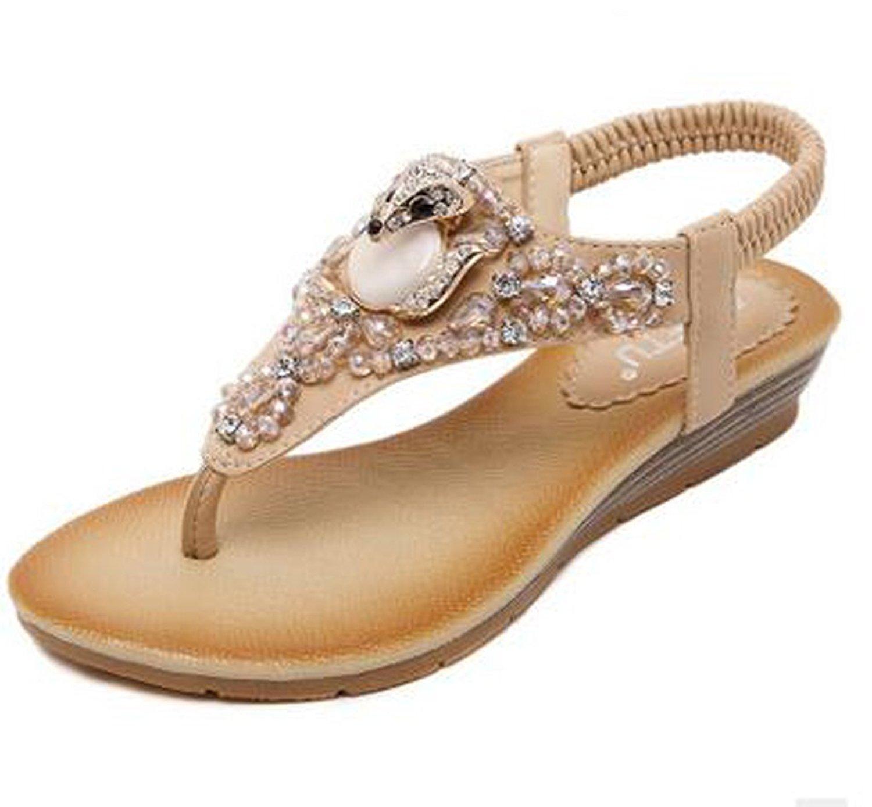 3bcf888c7d30d Get Quotations · Pandafriend New Summer Fashion Handmade Beaded Womens  Wedge Heels Thong Sandals Shoes