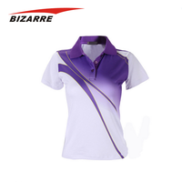 Lady short sleeve double mercerized cotton polo shirt sublimation