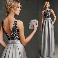 Lace Satin Prom Dresses Evening Dresses Sleeveless Long Cocktail Dress Formal Wedding Bridesmaid Evening Party Silver Gray