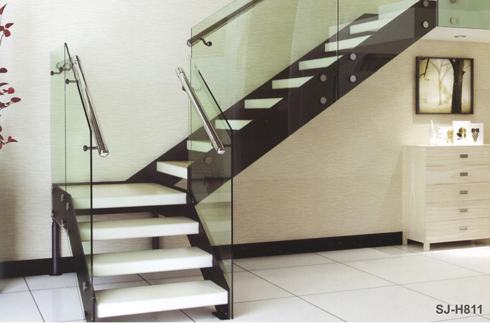 Great Interior Double Stringer Straight Steel Wood Tread Stair/open Riser Glass  Staircase