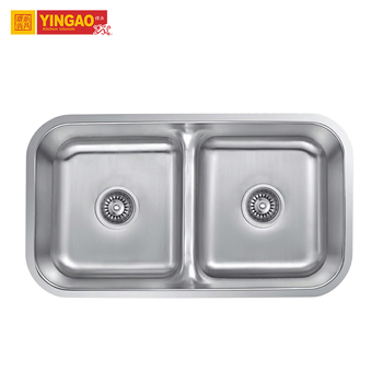 Wholesale Brushed Surface 304 Stainless Steel Double Hotel Hand Wash Kitchen Sink