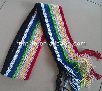So Schön Stricken Häkeln Mädchens Gestreiften Regenbogen Schal Buy