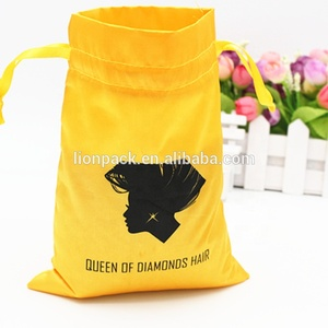 Wholesales drawstring sealing large satin hair bags for 3 bundle hair extensions