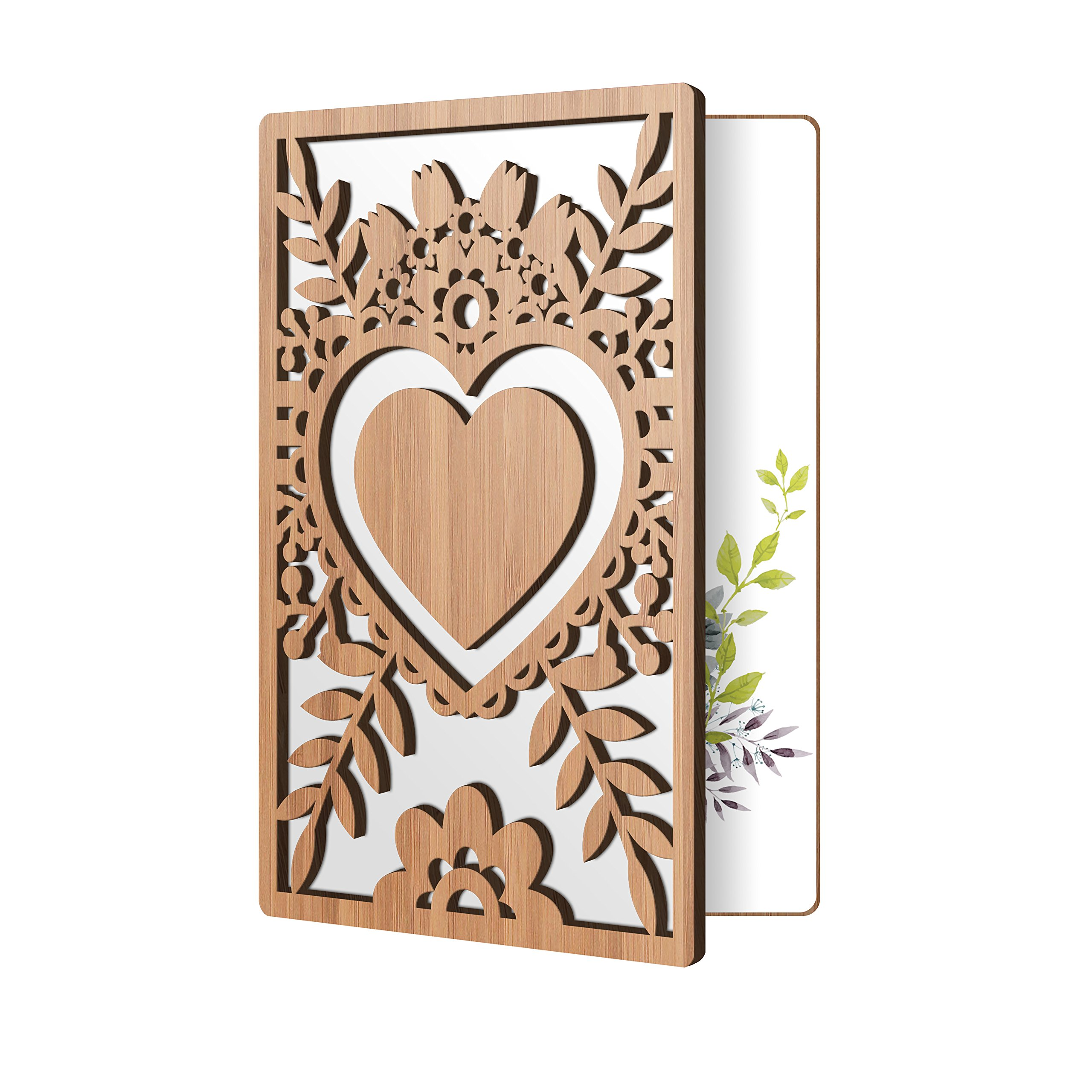 Bamboo Wood Greeting Card Floral Heart Design: Premium Handmade Wooden Card Perfect To Say I Love You, Happy Anniversary, Just Because, Or A Great Mother's Day Card