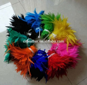 Wholesale Dyed colors 6-8inch Rooster Saddle Hackle Feather Strung