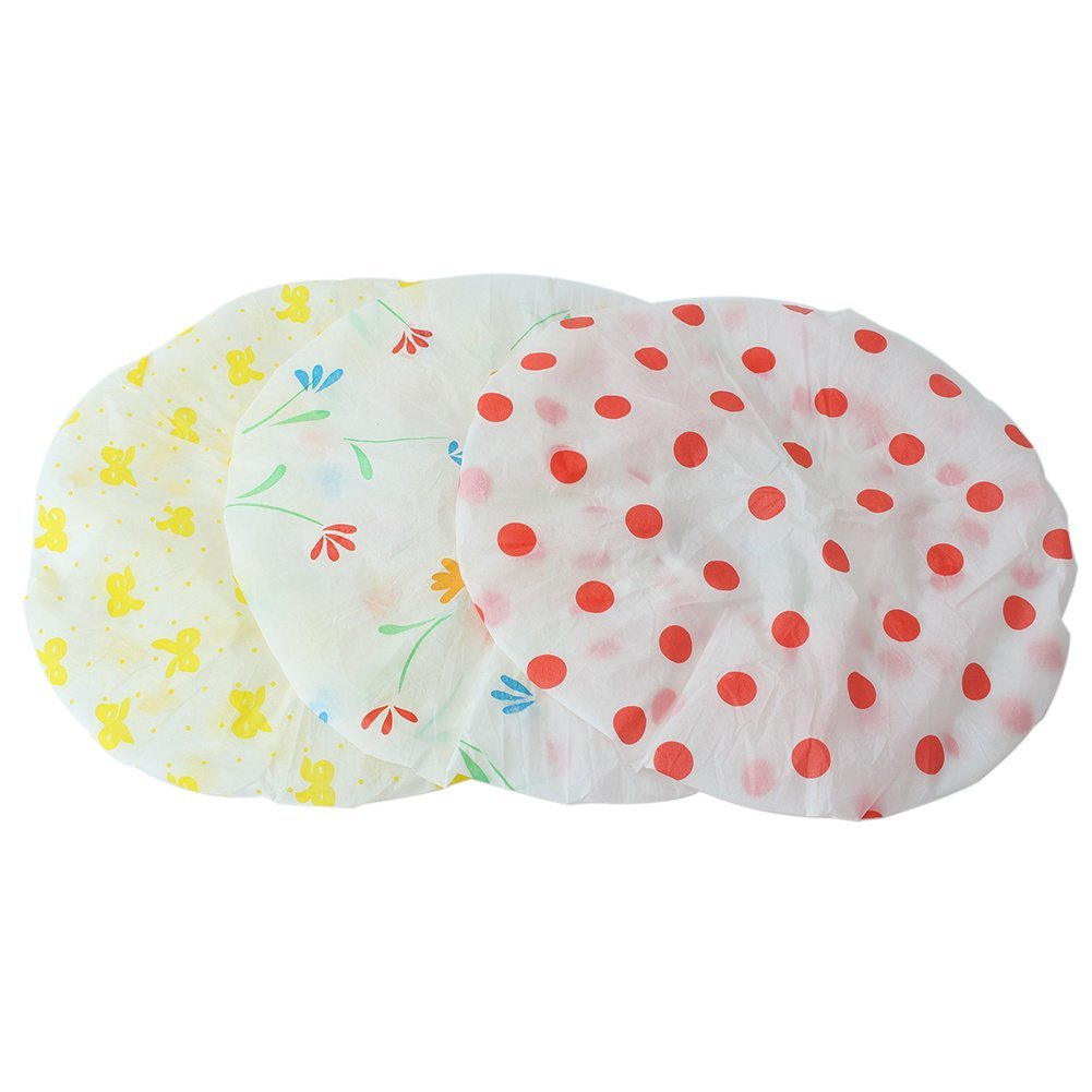 4362a02aaf9 Get Quotations · 3x Womens Lady Waterproof Elastic Shower Cap Bathing Salon  Hat