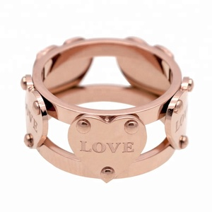 Fashion Luxury Famous Brand Love New Female Gold Color Five Heart Ring For Women
