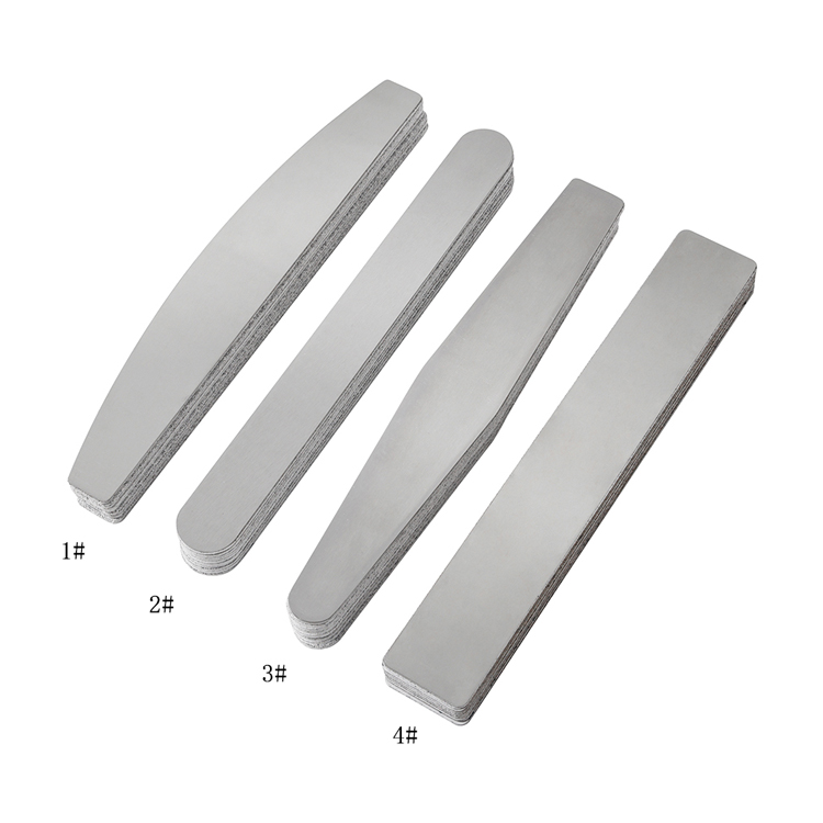Durable replaceable sandpaper private label half moon 180/240 grit nail file professional metal stainless steel nail file