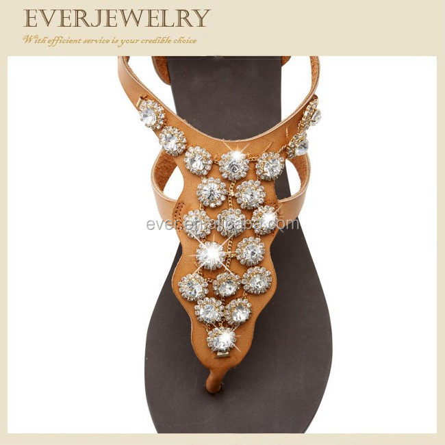 Fashion handmade rhinestone sandal shoe flower
