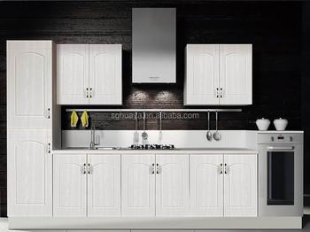 Witte pvc houtnerf mdf goedkope keuken kast met zichtbare