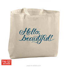 2017 large size 100% cotton canvas advertising grocery bag