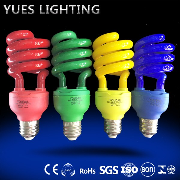 Colorful lamp CE ROHS proved economic 3000 hours 40W half spiral saving light bulbs