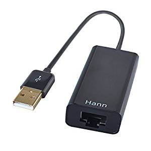 Hann® USB 2.0 Male to RJ45 Female 10/100Mbps Fast Speed LAN Gigabit Ethernet Network Free Driver Adapter for Apple MacBook Air MacBook Pro etc, Black Color
