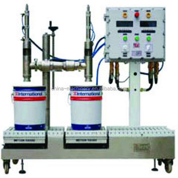 semi automatic weighing filling machine used chemical complete paint filled line