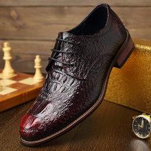 Модная Мужская обувь в стиле ретро с крокодиловым узором; кожаные повседневные оксфорды; Роскошные брендовые Мужские модельные туфли на пл...(Китай)
