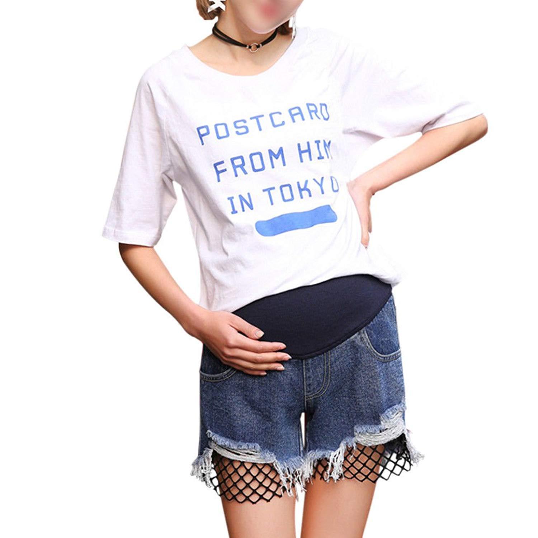 e220fd0e5fdfc Get Quotations · Xinvision Women Pregnant Adjustable Casual Jeans Shorts  Denim Over Bump Blue