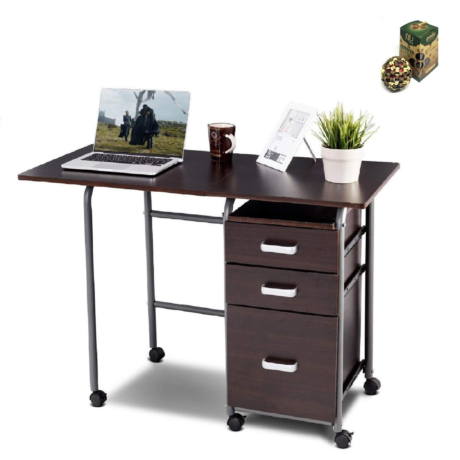 Folding Computer Laptop Desk Wheeled Home Office Furniture - Brown by SpiritOne + Gift Coconut Shell Massage Ball