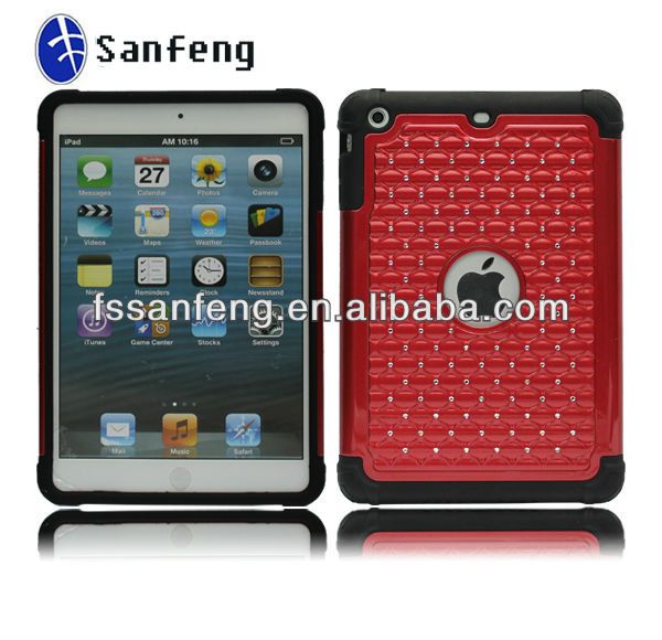 New arrival! Smart cover for ipad mini case,3 in 1 diamond rhinestone case for apple ipad