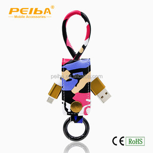 2016 Top new brand patented leather usb charge cable 2 in 1 usb data cable for IOS And Android