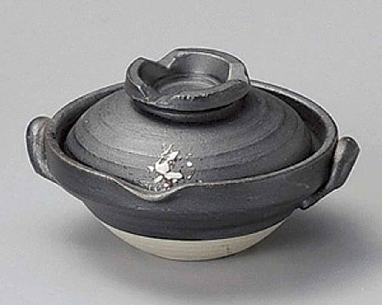 Sabi white Blow 3.4inch Set of 2 Small Bowls with covers Black Ceramic Made in Japan